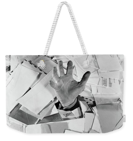 1950s Male Hand Sticking Out Of Pile Weekender Tote Bag