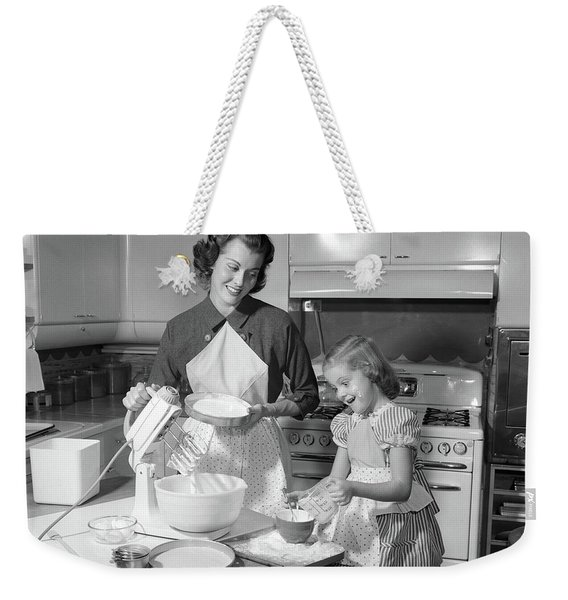1950s Mother & Daughter Baking A Cake Weekender Tote Bag