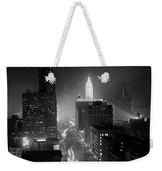 1950s Night Aerial Chicago Illinois Weekender Tote Bag