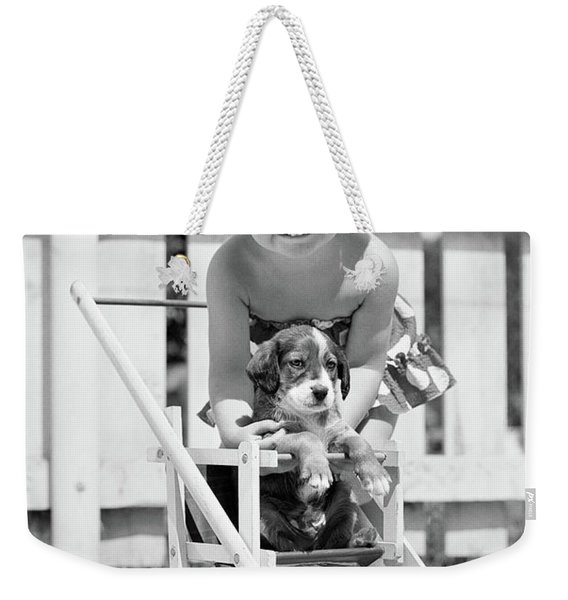 1950s Smiling Girl With Blonde Pigtails Weekender Tote Bag