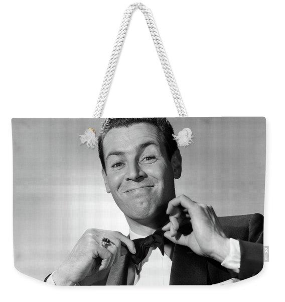 1950s Smiling Man In Tuxedo Tying Black Weekender Tote Bag