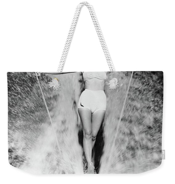 1950s Smiling Woman In White Two Piece Weekender Tote Bag