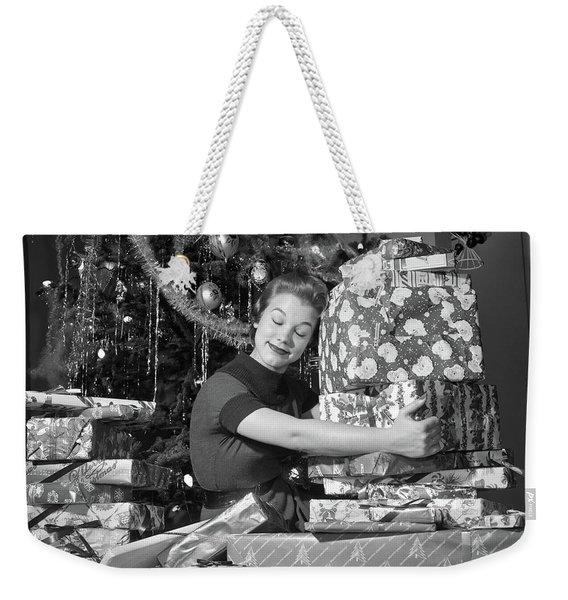1950s Woman Sitting By Christmas Tree Weekender Tote Bag