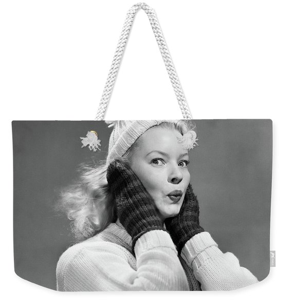 1950s Young Woman Pursing Lips Hands Weekender Tote Bag