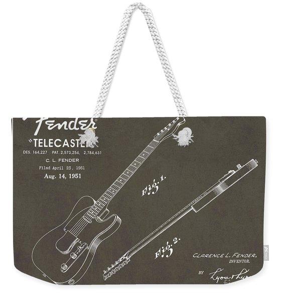 1951 Fender Telecaster Guitar Patent Art In White Chalk On Gray  Weekender Tote Bag
