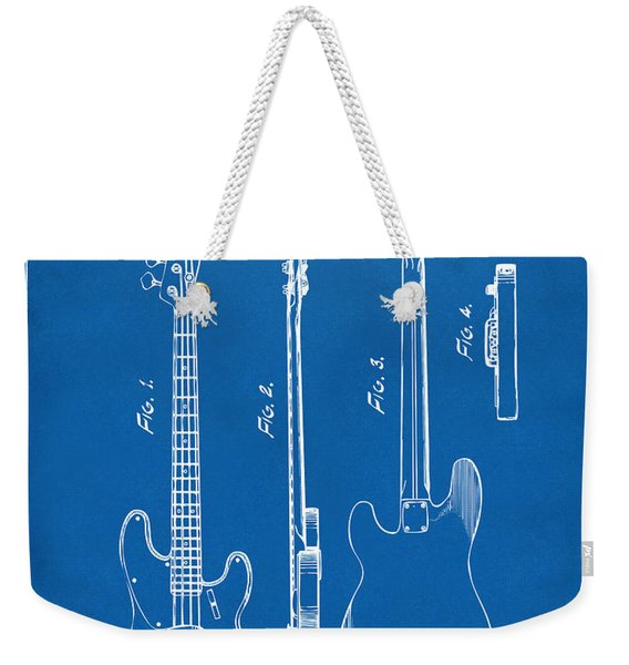 1953 Fender Bass Guitar Patent Artwork - Blueprint Weekender Tote Bag