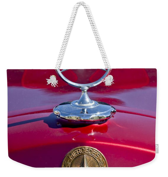 Weekender Tote Bag featuring the photograph 1953 Mercedes Benz Hood Ornament by Jill Reger