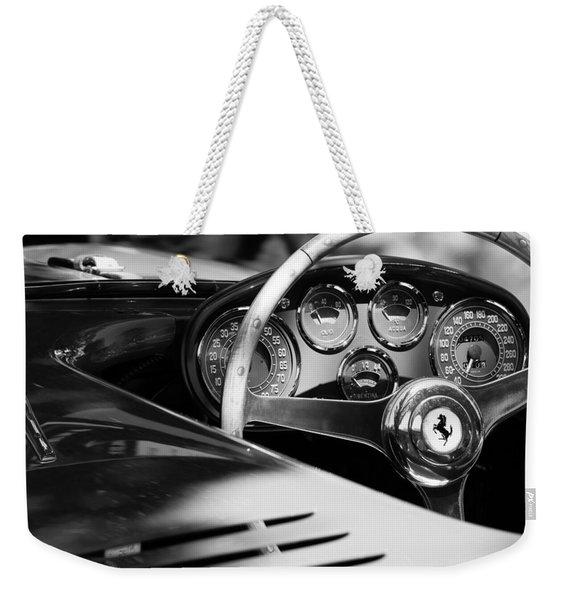 Weekender Tote Bag featuring the photograph 1954 Ferrari 500 Mondial Spyder Steering Wheel Emblem by Jill Reger