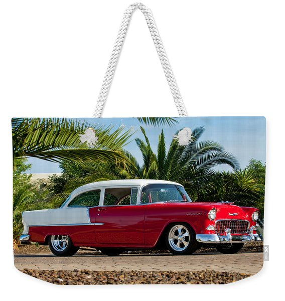 Weekender Tote Bag featuring the photograph 1955 Chevrolet 210 by Jill Reger