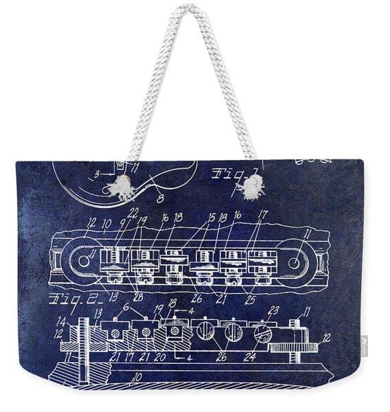 1956 Gibson Guitar Patent Drawing Blue Weekender Tote Bag