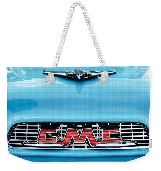 1956 Gmc 100 Deluxe Edition Pickup Truck Hood Ornament - Grille Emblem Weekender Tote Bag