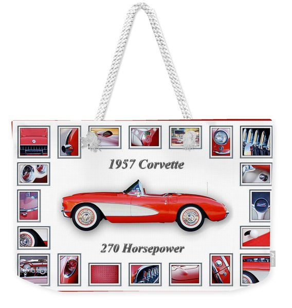 Weekender Tote Bag featuring the photograph 1957 Chevrolet Corvette Art by Jill Reger