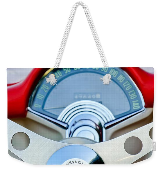 Weekender Tote Bag featuring the photograph 1957 Chevrolet Corvette Convertible Steering Wheel by Jill Reger