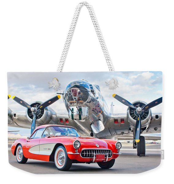 Weekender Tote Bag featuring the photograph 1957 Chevrolet Corvette by Jill Reger