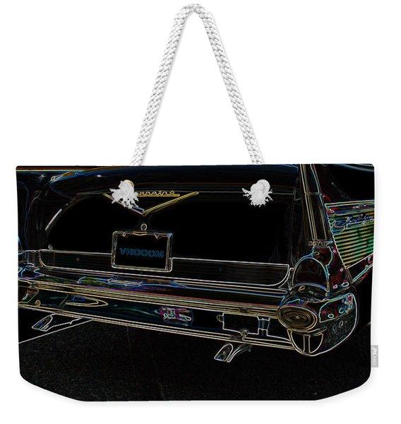 1957 Chevrolet Rear View Art Black_varooom Tag Weekender Tote Bag