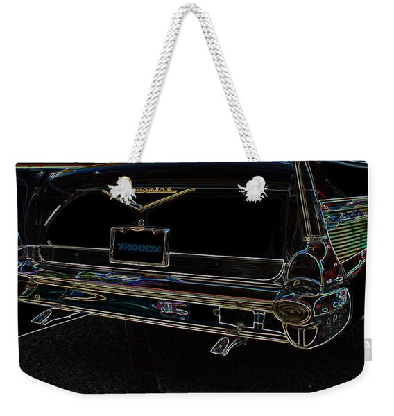 1957 Chevrolet Rear View Art Black_varooom Tag Weekender Tote Bag
