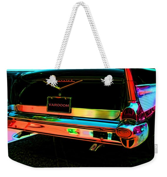 1957 Chevy Art Red Varooom Weekender Tote Bag