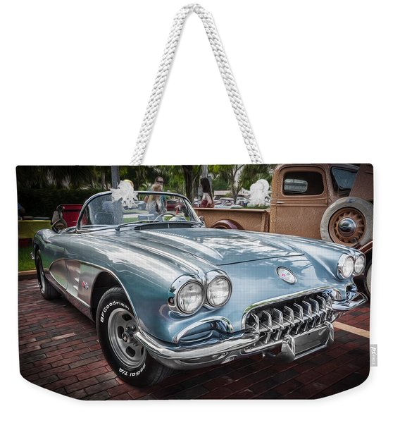 1958 Chevy Corvette Painted Weekender Tote Bag