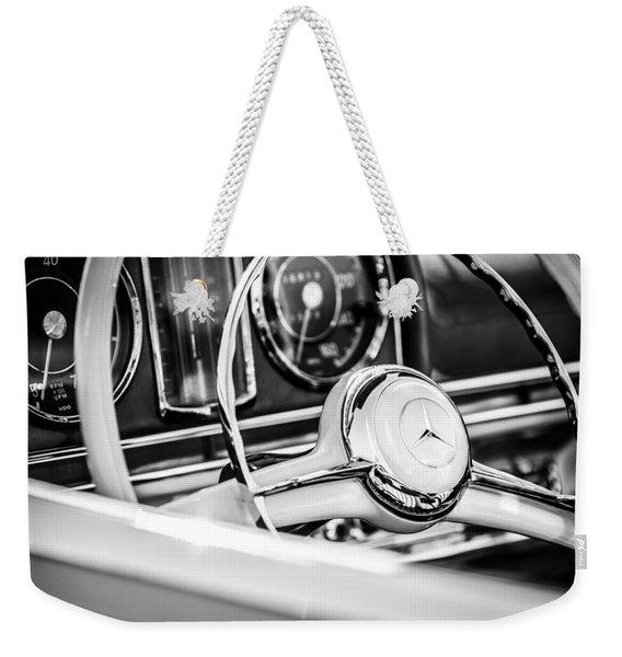 1958 Mercedes-benz 300sl Roadster Steering Wheel -1131bw Weekender Tote Bag