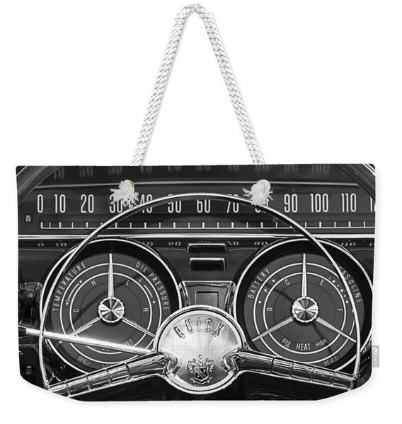 Weekender Tote Bag featuring the photograph 1959 Buick Lasabre Steering Wheel by Jill Reger