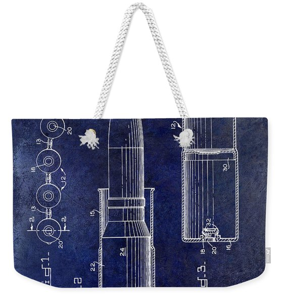 1959 Cartidge Ram Link Patent Drawing Blue Weekender Tote Bag