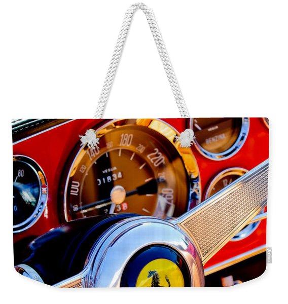 Weekender Tote Bag featuring the photograph 1960 Ferrari 250 Gt Cabriolet Pininfarina Series II Steering Wheel Emblem -1319c by Jill Reger