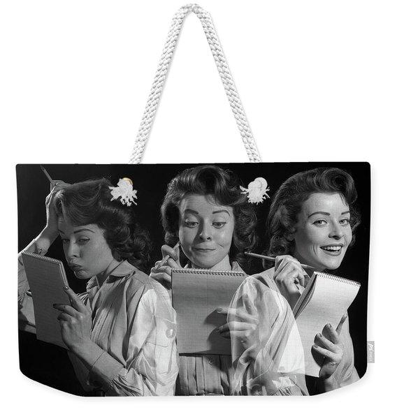 1960s 1950s Woman Office Worker Holding Weekender Tote Bag
