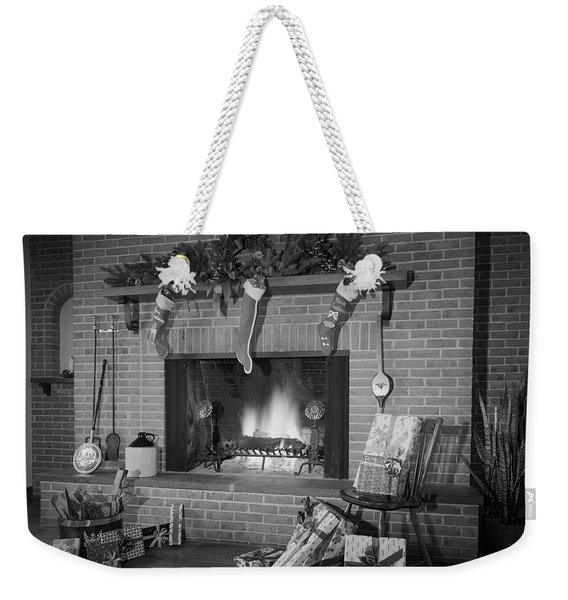 1960s 1970s Stockings Hung By Fireplace Weekender Tote Bag