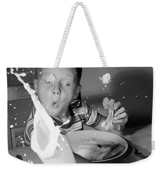 1960s Boy Having Lunch Knocking Weekender Tote Bag