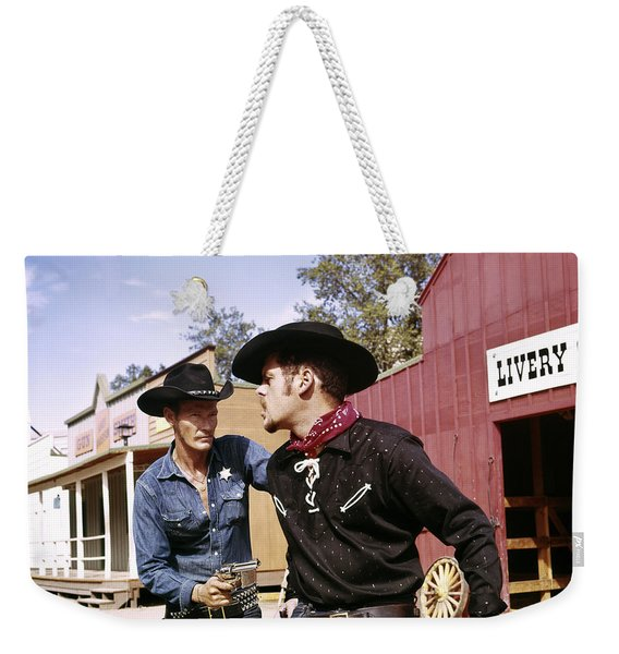 1960s Cowboy Sheriff With Badge Draws Weekender Tote Bag