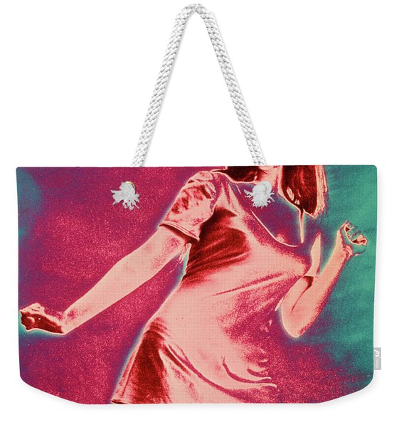 1960s Girl Woman Short Miniskirt Dress Weekender Tote Bag