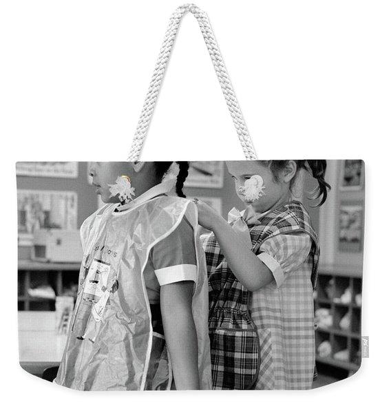 1960s Grade School Girl In Classroom Weekender Tote Bag