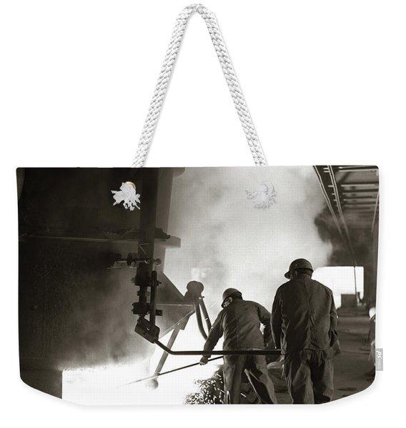 1960s Pair Of Steel Workers Wearing Weekender Tote Bag