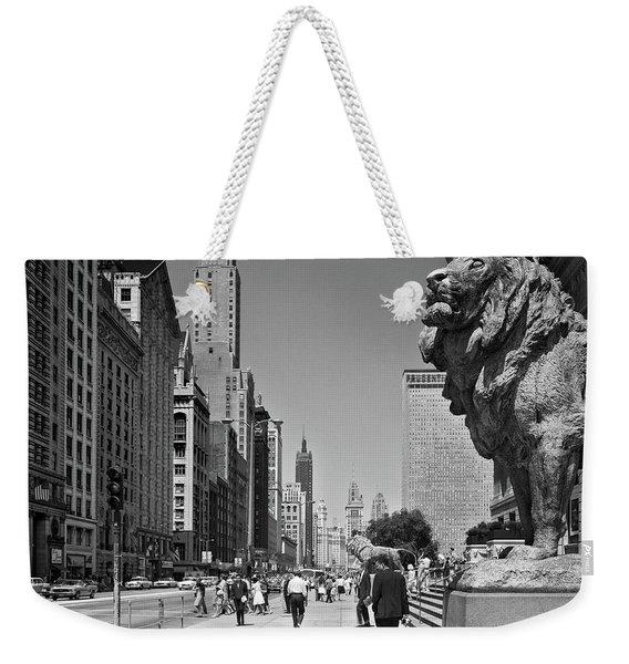 1960s People Pedestrians Street Scene Weekender Tote Bag