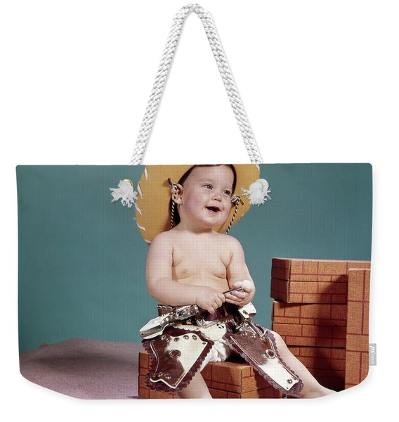 1960s Smiling Baby Wearing Cowboy Hat Weekender Tote Bag
