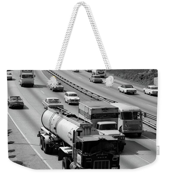 1960s Tanker Truck Traveling On Busy Weekender Tote Bag