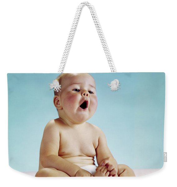 1960s Tired Baby Sitting Holding Weekender Tote Bag