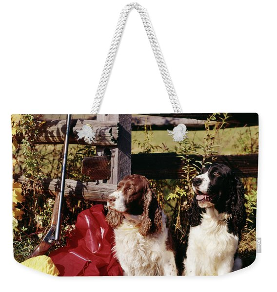 1960s Two Springer Spaniel Hunting Dogs Weekender Tote Bag