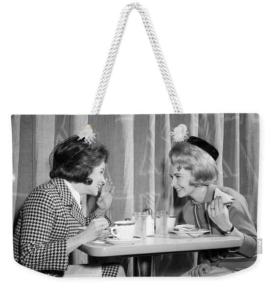 1960s Two Women Gossiping At Lunch Weekender Tote Bag