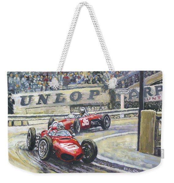 1961 Monaco Gp Ferrari 156 #40 Trips #36 Ginther Weekender Tote Bag