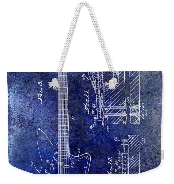 1966 Fender Guitar Patent Drawing Blue Weekender Tote Bag