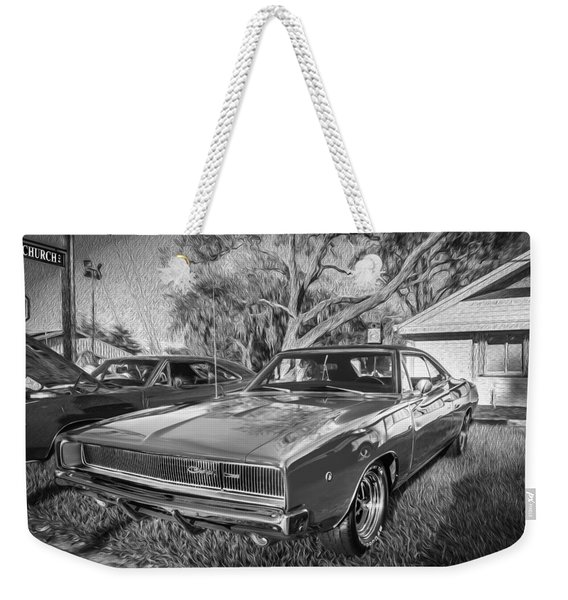 1968 Dodge Charger The Bullit Car Bw Weekender Tote Bag