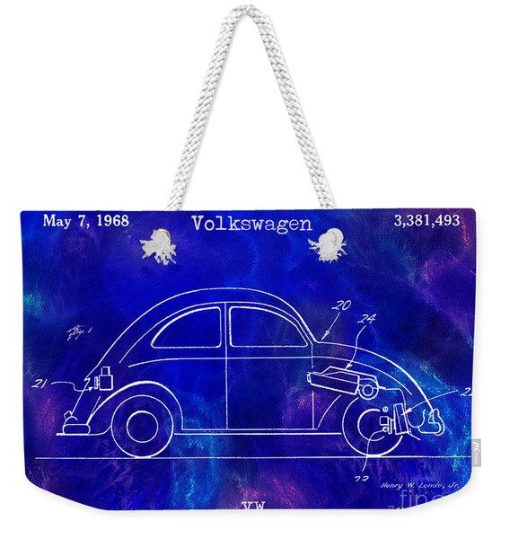 1968 Vw Patent Drawing Blue Weekender Tote Bag