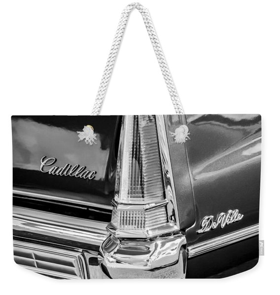 1969 Cadillac Deville Taillight Emblems -0890bw Weekender Tote Bag