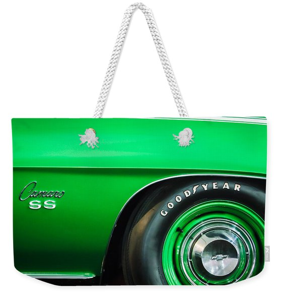1969 Chevrolet Camaro 396 Rs Ss L89 Side Emblem Weekender Tote Bag