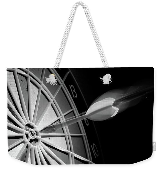 1970s Flying Dart Hitting Bulls-eye Weekender Tote Bag