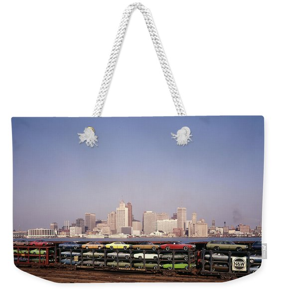1970s Freight Train Transporting Weekender Tote Bag