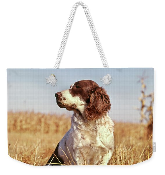 1970s Hunting Dog In Autumn Field Weekender Tote Bag