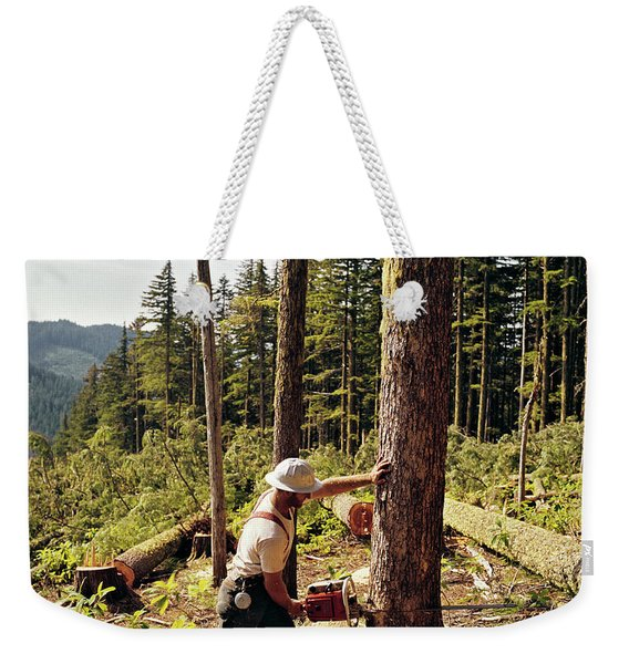 1970s Lumberjack Cutting Tree Mount Weekender Tote Bag