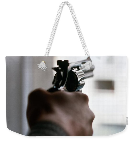1970s Male Hand Aiming Revolver Weekender Tote Bag
